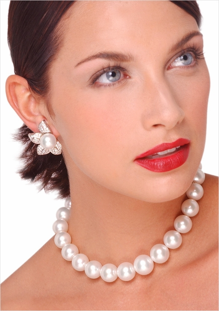 14 x 17mm White Australian South Sea Cultured Pearl Necklace