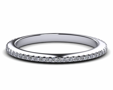 14k White Gold Diamond And Pink Sapphire Micro Pave Wedding Band