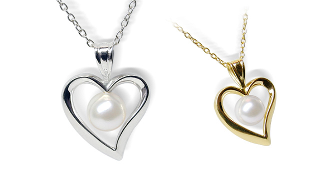 14k white gold heart pearl pendant american pearl 14k white gold heart pearl pendant aloadofball Image collections