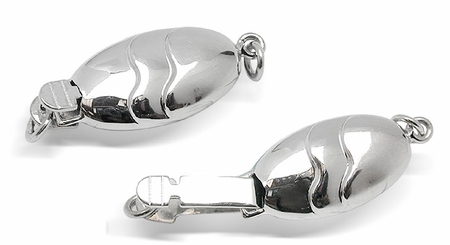 14K White Gold Oval Fish Clasp
