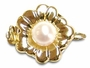 14K Yellow Gold Pearl and Flower Clasp