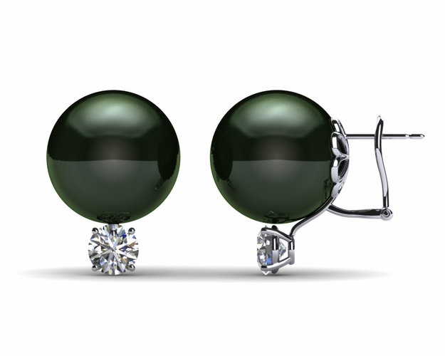 14mm Black South Sea Tahitian Pearl Earring with 1.1 carat t.d.w