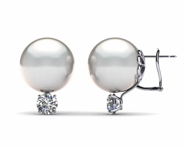 14mm White South Sea Pearl Earring & 1.1 carat tw Diamond