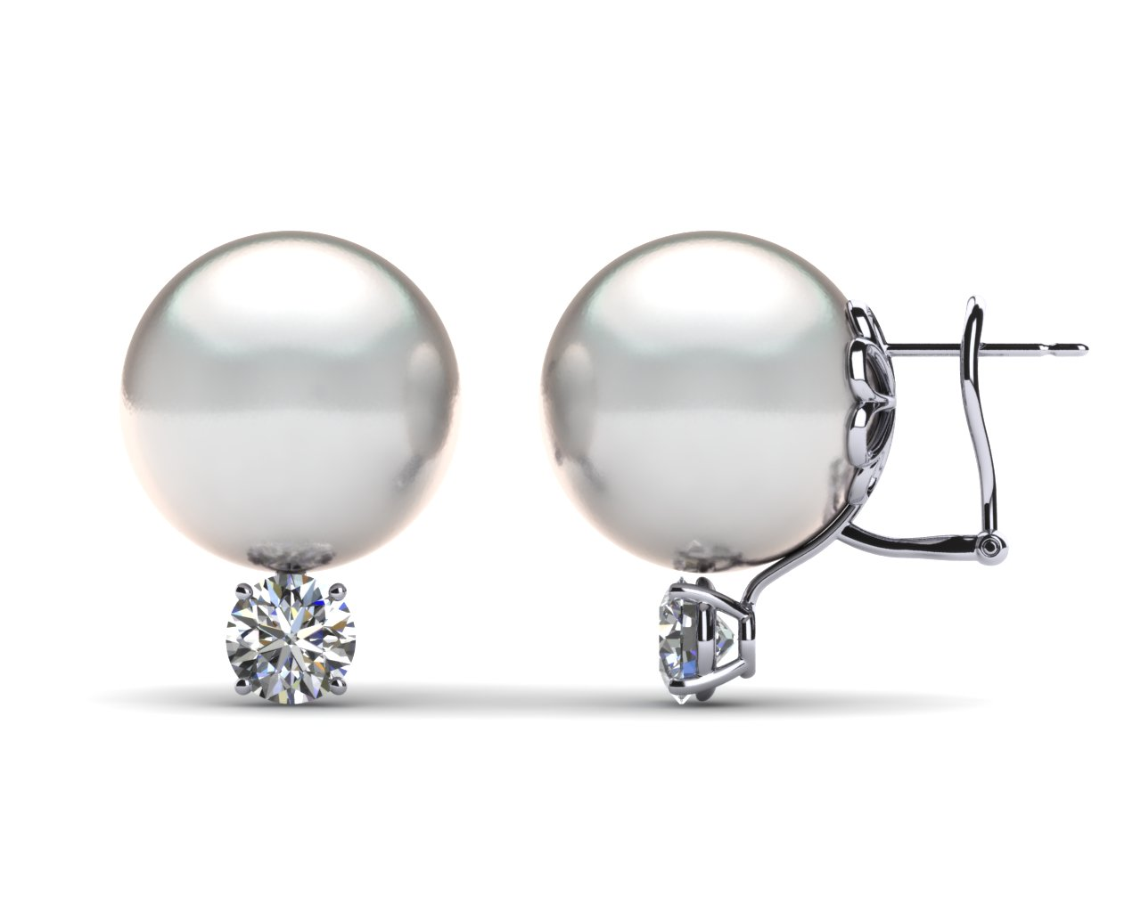 14mm White South Sea Pearl Earring 1 Carat Tw Diamond