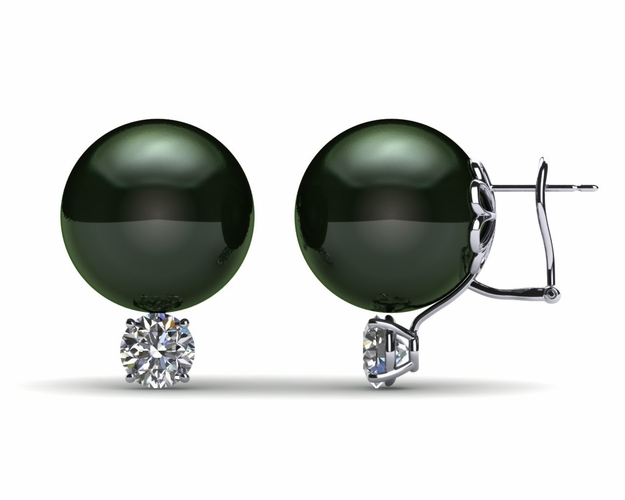15mm Black South Sea Tahitian Pearl Earring with 1.5 carat t.d.w