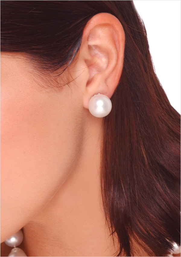 15mm White Australian South Sea Cultured Pearl Stud