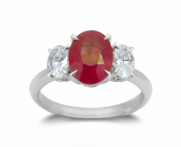 18K White Gold Ruby Ring w/0.72Ct. Diamonds
