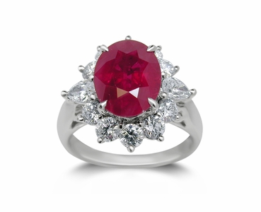 18K White Gold Ruby Ring w/1.15cttw. Diamonds