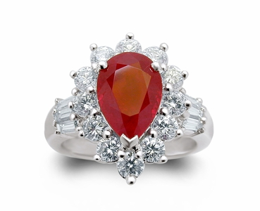 18K White Gold Ruby Ring w/1.38cttw. Diamonds