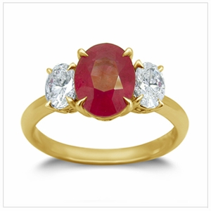18K Yellow Gold Ruby Ring w/0.72Ct. Diamonds
