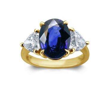 18K Yellow Gold Sapphire Ring w/1.25cttw Diamonds