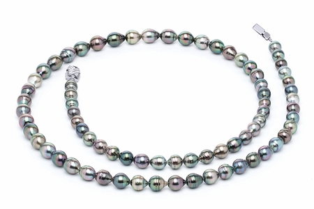 32 Inch 8 x 10mm Tahitian Pearl Necklace Serial Number | s10-multi-color-b38