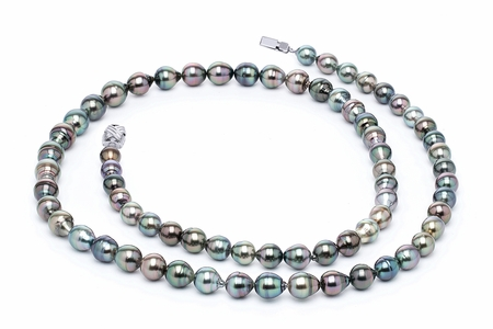 32 Inch 9 x 11 Tahitian Pearl Necklace | Serial Number s10-multi-color-b40