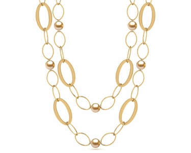 32 Inch Golden South Sea Pearl Circle of Life Necklace