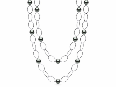 36 Inch Tahitian Pearl 10mm Hammered Link Necklace