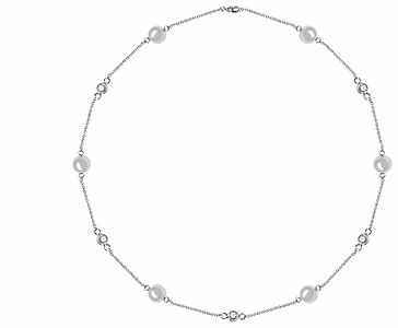 5.5 x 6 mm Pearl and Diamond Tin Cup Necklace