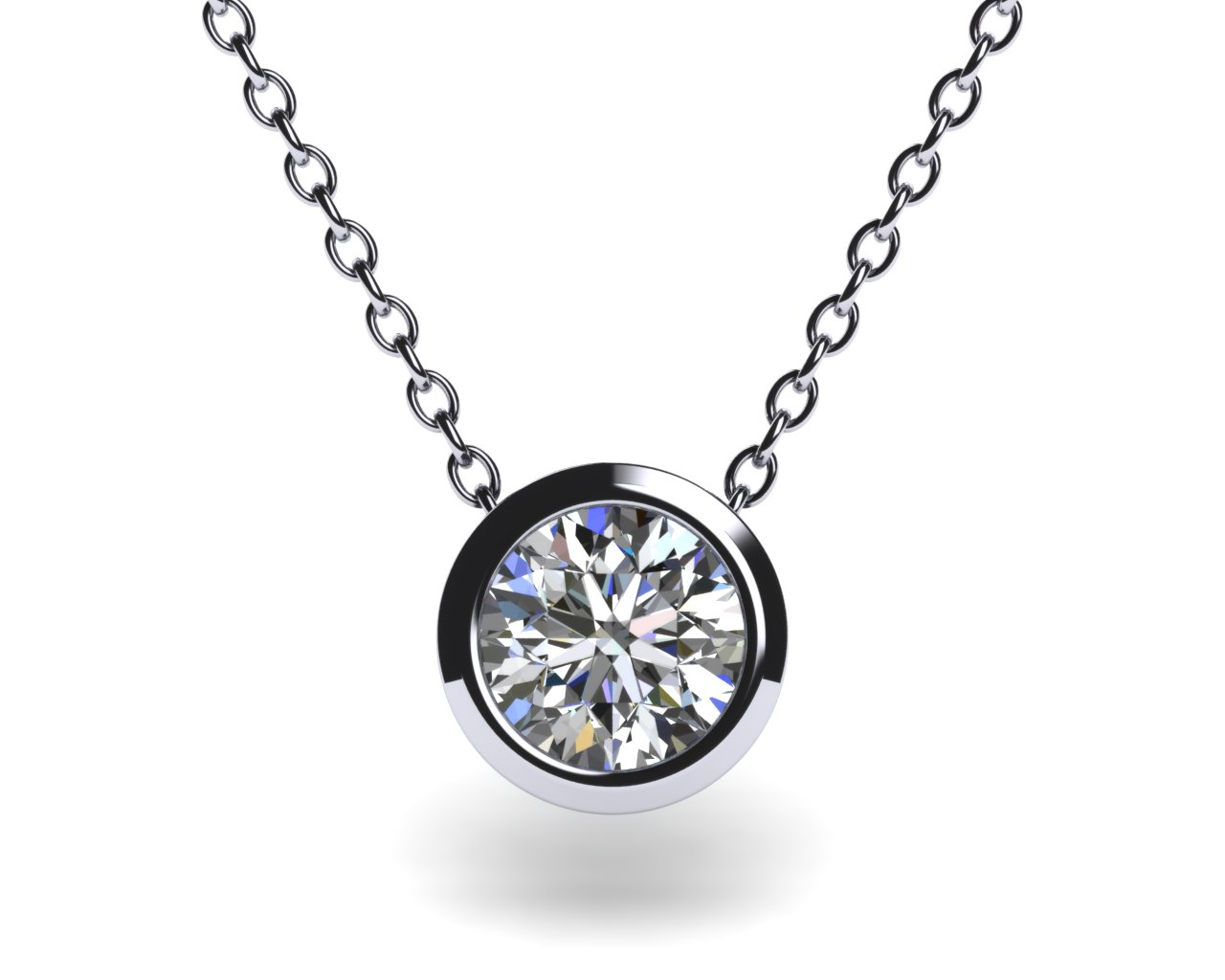 in necklace white gold necklaces solitaire round set m bezel aquamarine p