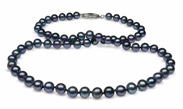 5x5.5mm Raven Blue Freshwater Cultured Pearl Necklace