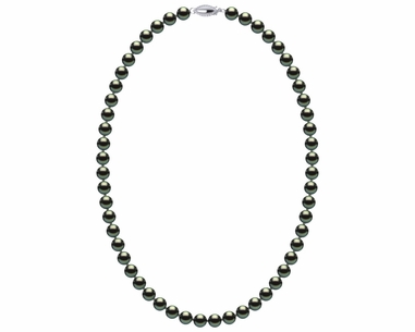 e7692e40f 6.5-7.0 mm AAA Black Green Freshwater Pearl Necklace With Sterling Silver  Clasp