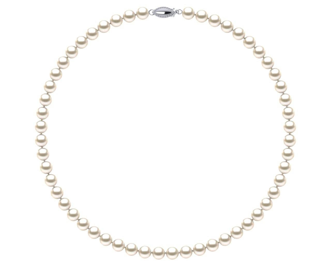 1a8d326c2bfd81 Sterling Silver Light Cream Freshwater Cultured Pearl Pearl Single Strand  Necklace