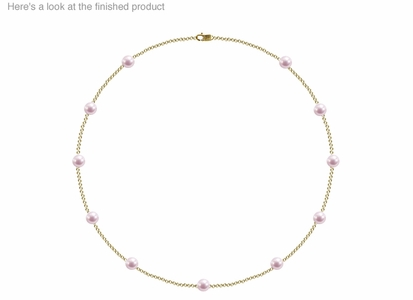 6.5 x 7mm A+ Quality  Japanese Akoya Cultured Pearl Tin Cup Necklace