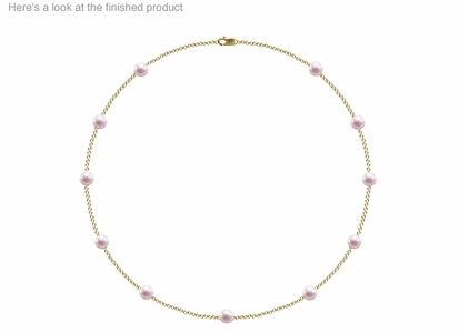 6.5 x 7mm A Quality  Japanese Akoya Cultured Pearl Tin Cup Necklace
