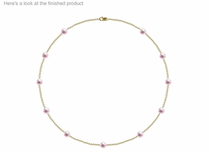 6.5 x 7mm AA Quality  Japanese Akoya Cultured Pearl Tin Cup Necklace