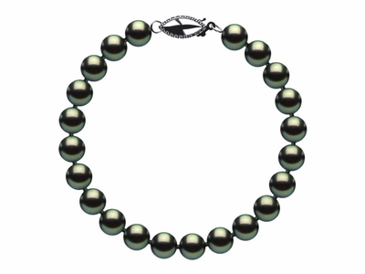 6.5 x 7mm Black Green Freshwater Pearl Bracelet