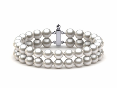 6.5mm x 7mm White Freshwater Cultured Pearl Double Strand Bracelet