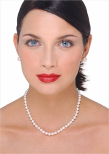 6 x 6.5mm Japanese Akoya Cultured Pearl Necklace - 16 inches