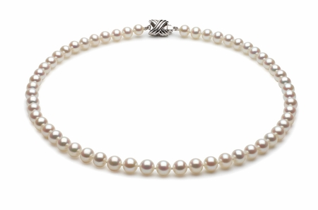 6 x 7mm White High Grade Freshwater Pearl Necklace