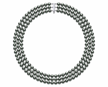 6mm to 7.0 mm Triple-Strand Black Freshwater Pearl Necklace