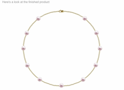 7.5 x 8 mm A Quality  Japanese Akoya Cultured Pearl Tin Cup Necklace