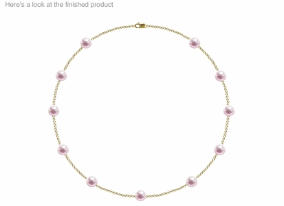 7.5 x 8 mm AA Quality  Japanese Akoya Cultured Pearl Tin Cup Necklace