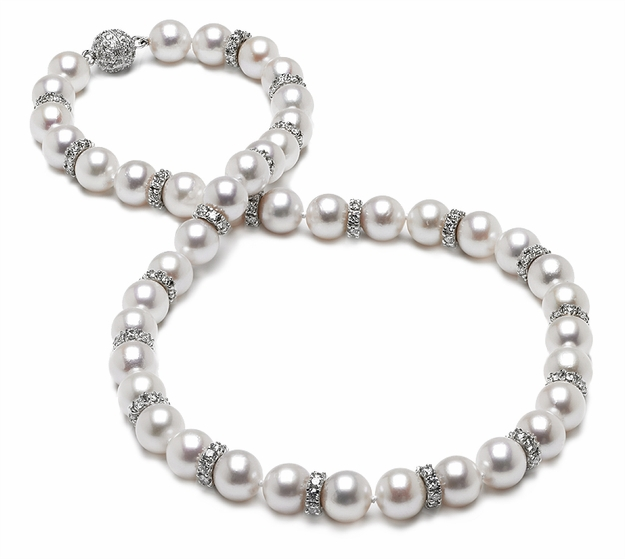 7.5 x 8 mm Japanese Akoya Cultured Pearl and Diamond Rondell Necklace - every two pearls