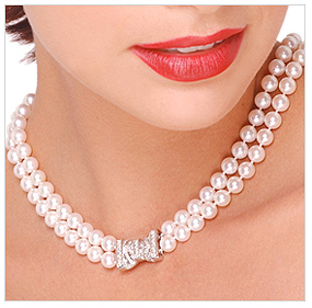 7.5 x 8mm AA Quality Japanese Akoya Cultured Pearl Double Strand Necklace