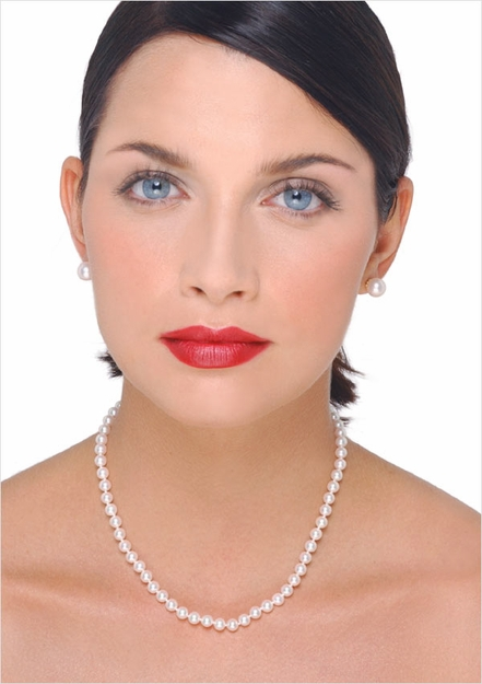 7.5 x 8mm Japanese Akoya Cultured Pearl Necklace - 16 inches