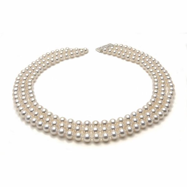 7.5 x 8mm White Freshwater Pearl Necklace Triple Strand