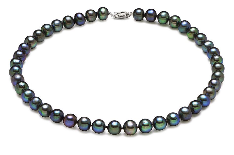 7 5mm X 8mm Black Freshwater Pearl Necklace American Pearl