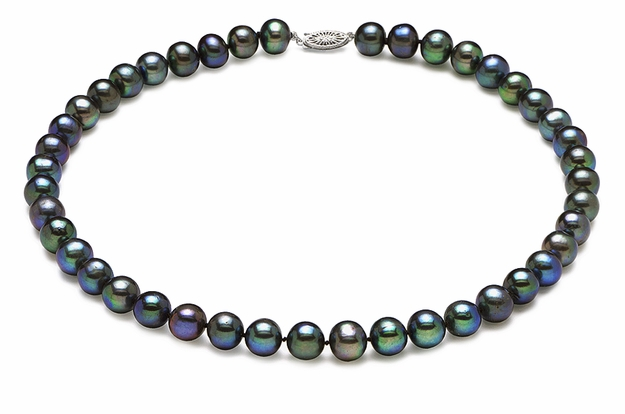 7.5mm x 8mm Black Freshwater Pearl Necklace