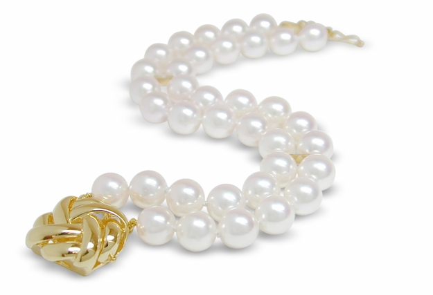 7 x 7.5 mm AA Quality Double Strand Pearl Bracelet