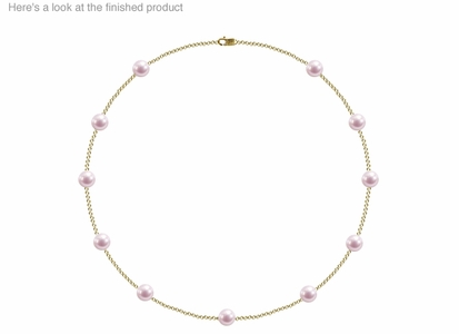 7 x 7.5mm A+ Quality  Japanese Akoya Cultured Pearl Tin Cup Necklace
