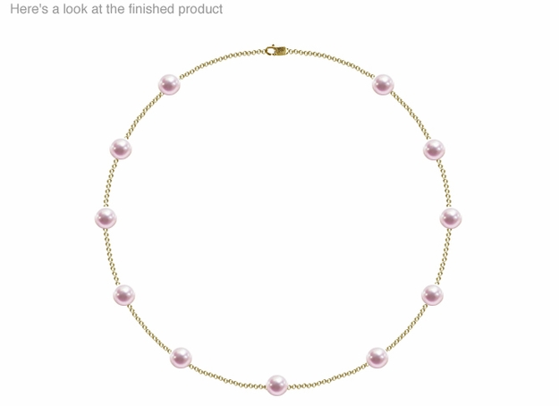 7 x 7.5mm AA Quality  Japanese Akoya Cultured Pearl Tin Cup Necklace