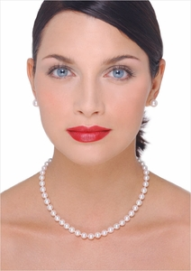 7 x 7.5mm Japanese Akoya Cultured Pearl Necklace - 16 inches
