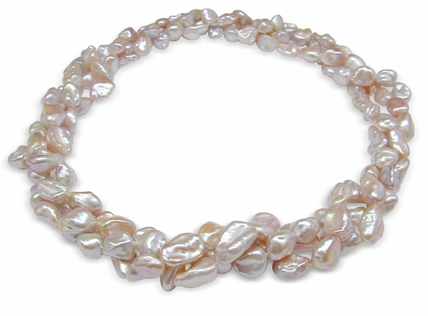 7mm Freshwater Biwa Nugget 16 inch Pearl Triple Strand Necklace