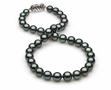 8.2 x 10.3mm Black Green Tahitian Pearl Necklace