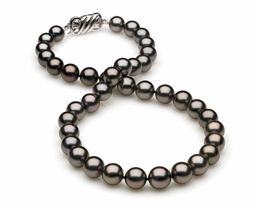 8.2 x 10.3mm Egglplant Rose Tahitian Pearl Necklace