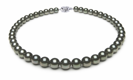 8.2 x 11mm Dark Black Green Tahitian Pearl Necklace