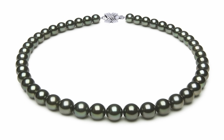 8.2 x 9.7mm Black Green Tahitian Pearl Necklace
