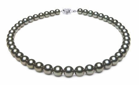 8.2 x 9.8mm Black Green Tahitian Pearl Necklace